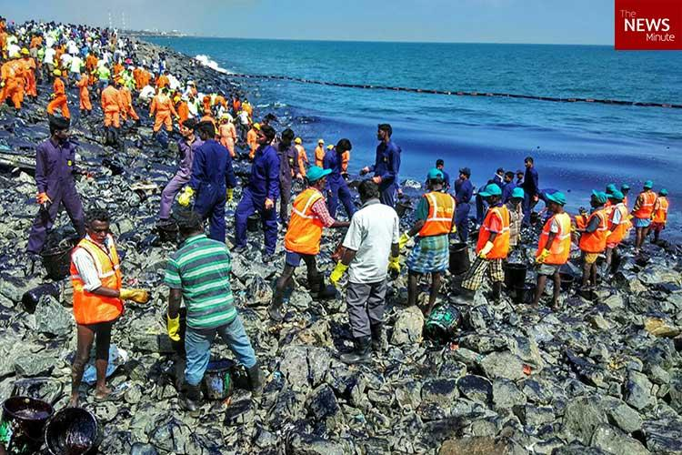 In pictures Over 500 people toil to sanitise Chennais coast after massive oil spill