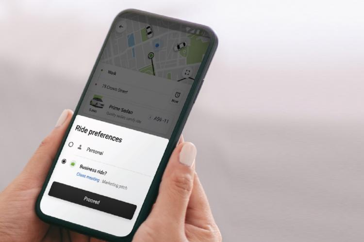 Ola Corporate app that lets riders choose between a personal and business ride