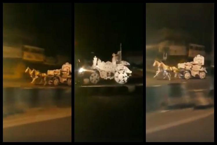 Two horses injured in Hyderabad road accident after driverless cart runs amok