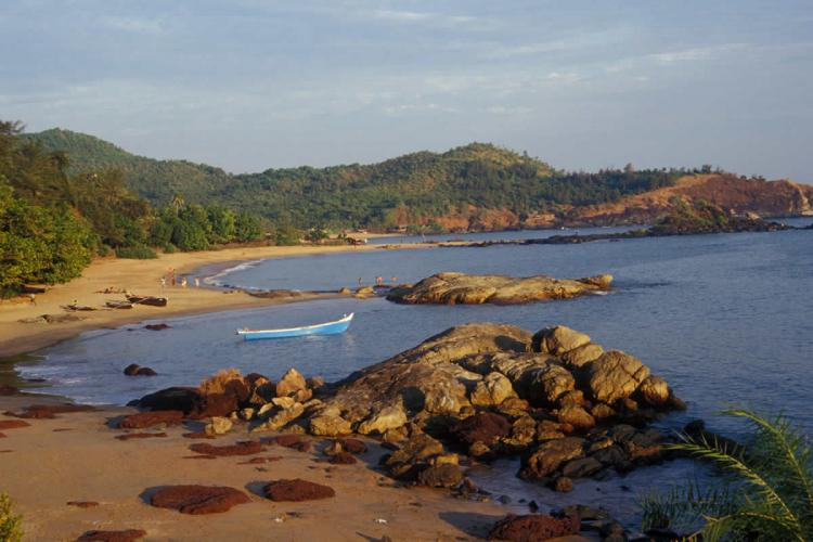 A sweeping view of Gokarnas Om Beach taken from a vantage point