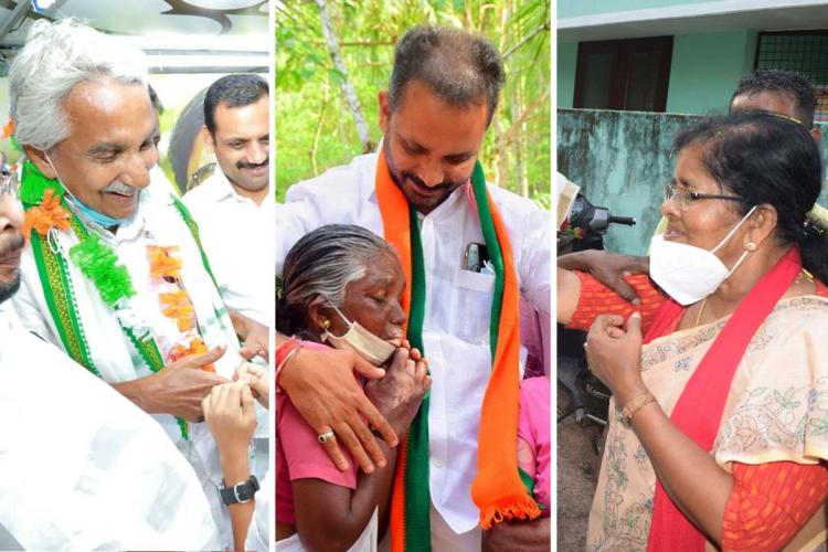 A collage of Oommen Chandy K Surendran J Mercykutty Amma campaigning