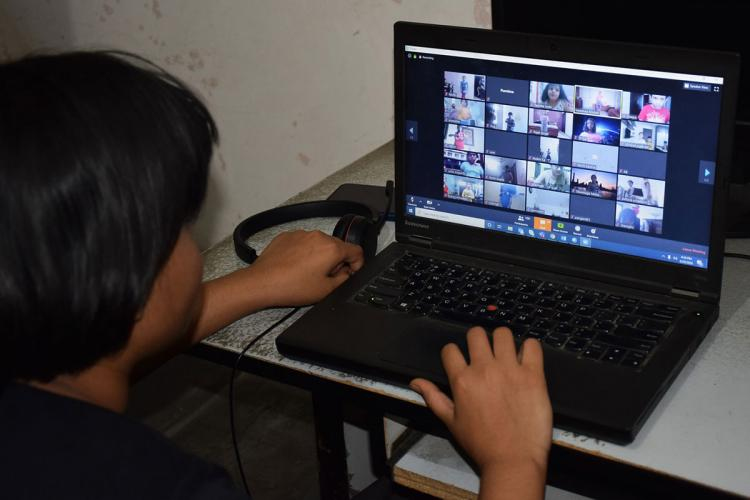 Students attending online class conducted by schools in COVID-19 pandemic times