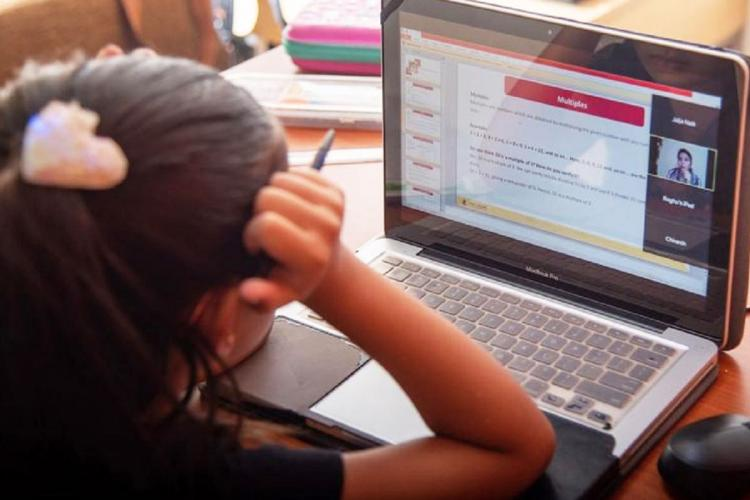 A young girl looks at her laptop with her hand on her head