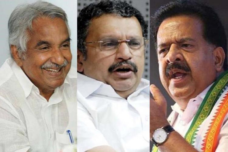 Collage of Congress candidates contesting 2021 Kerala Assembly election Oommen Chandy K Muraleedharan and Ramesh Chennithala