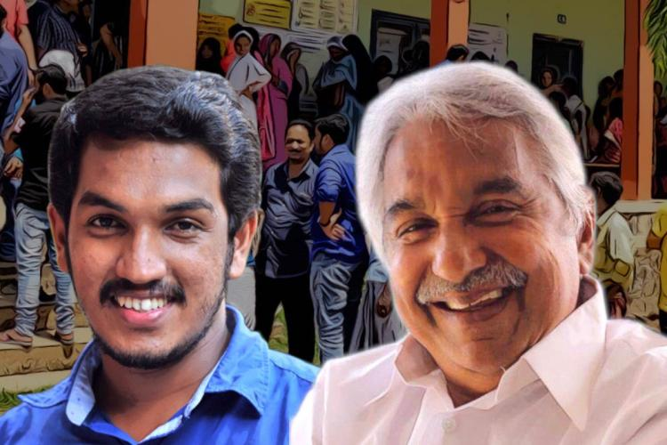 LDFs Jaick C Thomas and Congresss Oommen Chandy candidates in the Puthupally constituency in Kerala