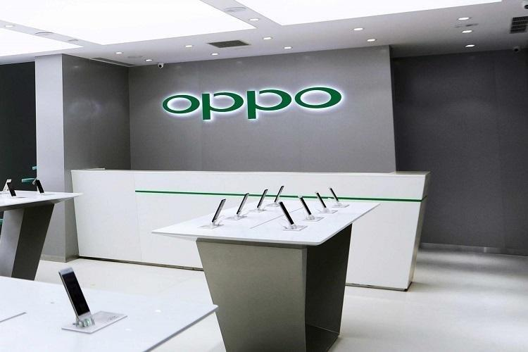 Oppo store with phones on display