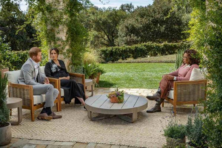 Oprah Winfrey interviewing Harry and Meghan