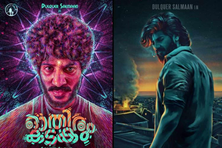 Posters from Dulquer's upcoming movies Othiram Kadakam on the left and King of Kotha on the right