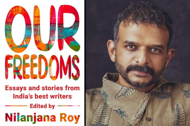 A collage image of TM Krishna and the cover page of the new book Our Freedoms