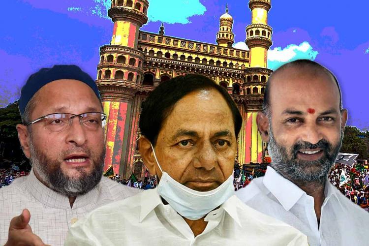 AIMIM chief Owaisi TRS chief KCR and Telangana BJP Chief Bandi Sanjay against backdrop of Charminar