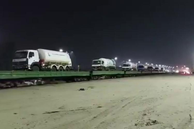 Empty tankers being transported by railways from Maharashtra to Vizag