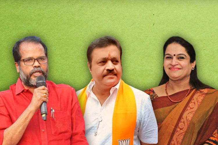 A collage of Thrissur Assembly poll candidates CPIs P Balachandran NDAs Suresh Gopi and UDFs Padmaja Venugopal