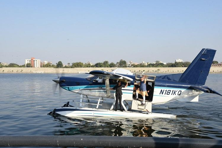 Gujarat polls Modi takes first-ever seaplane flight for campaigning