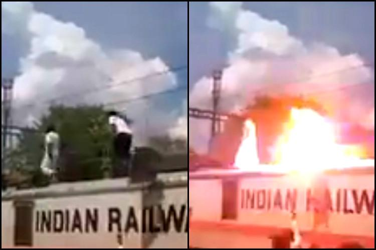 PMK man walks on top of train during Cauvery protest gets electrocuted