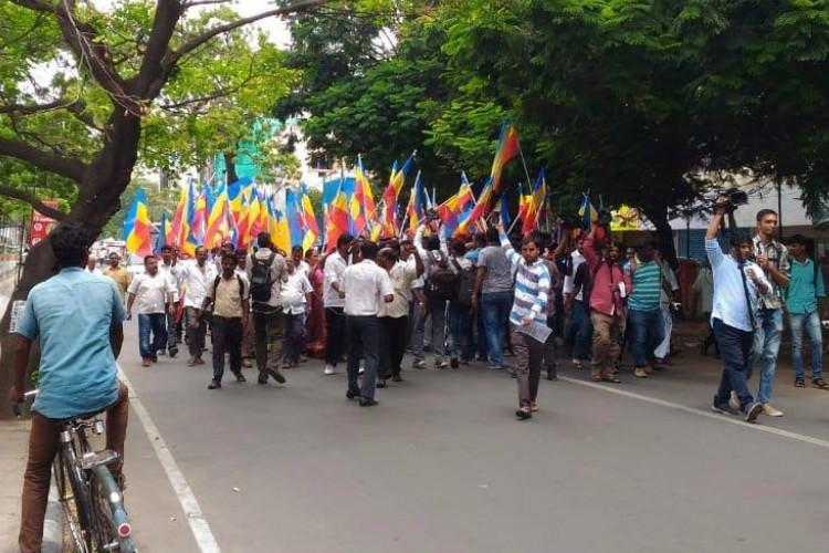 PMK cadre protest Tamilisais remarks against party clash with BJP in Chennai