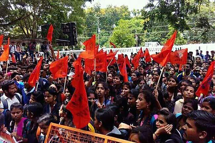 Hundreds of students protest govts move to shut down Karnataka State Open University demand justice