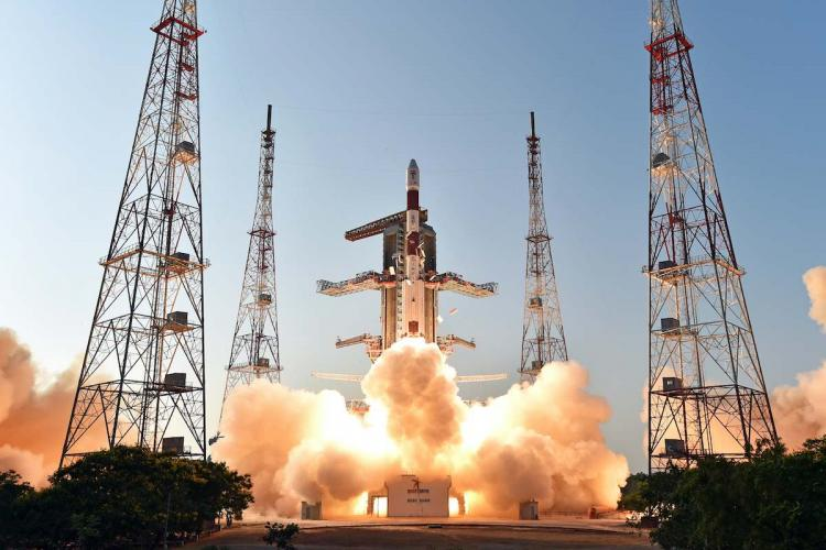 A file image of PSLV-C27 taking off image shared by ISRO