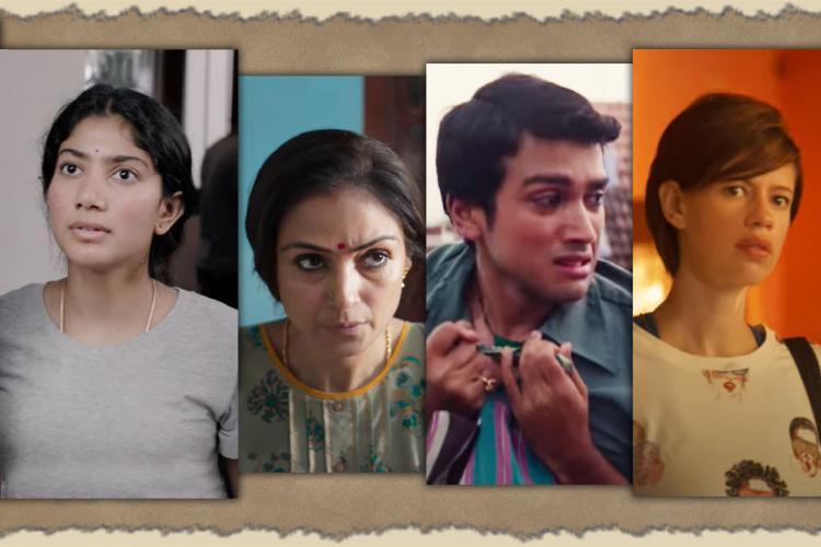 Actors Sai Pallavi Simran Kalidas Jayaram and Kalki Koechlin in Paava Kadhaigal anthology film