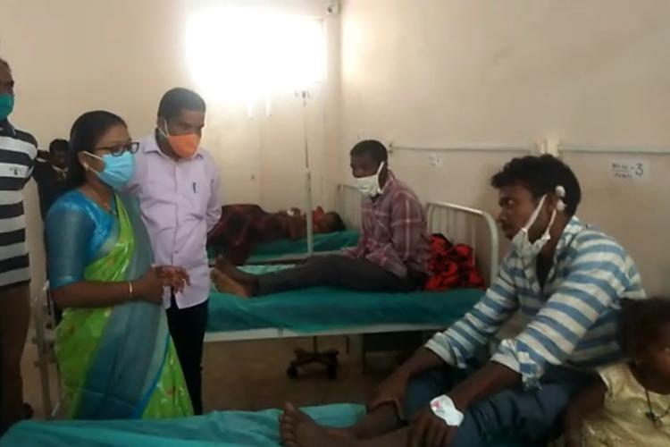 Paderu MLA K Bhagyalakshmi visiting patients at the local Primary Health Centre after they suffered food poisoning