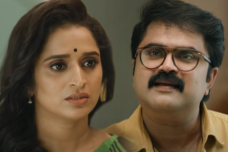 Actor Surabhi Lakshmi on the left and Anoop Menon on the right