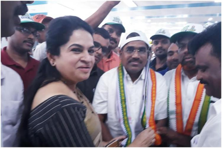 Congress Candidate in Keralas Thrissur Padmaja Venugopal during election campaign