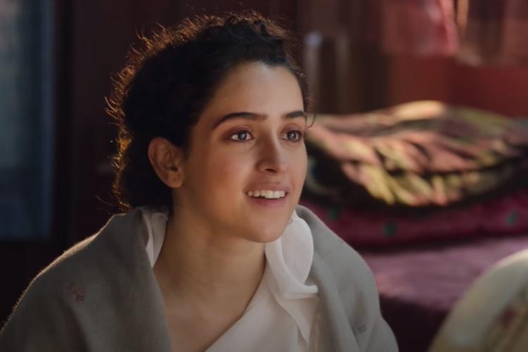 Sanya Malhotra dressed in a salwar with a grey shawl around her shoulders in Pagglait