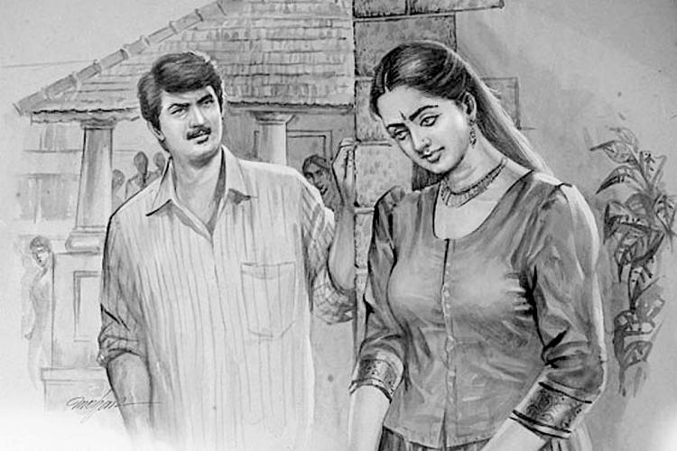 Black and white drawing of a man and woman in the setting of a Kerala temple