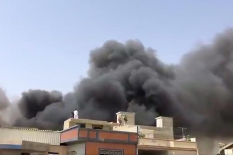 Plumes of smoke from the spot Pakistan International Flight crashed in Karachi