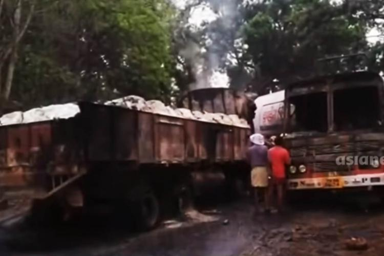 The truck and tanker lorry after collision