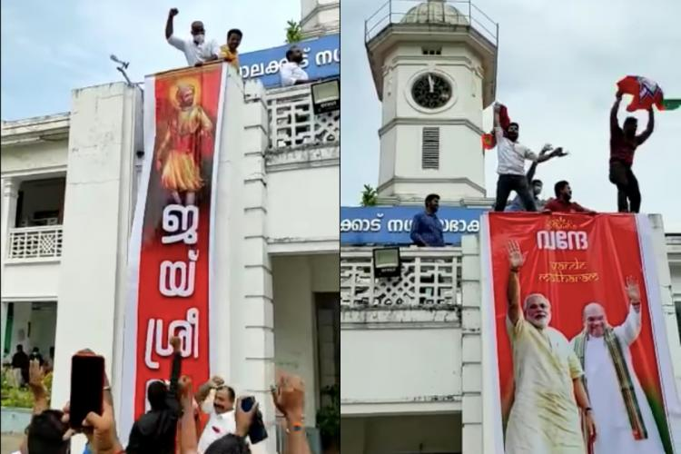 Screenshot from the controversial video showing jai shri ram banner unfurled at palakkad municipality building
