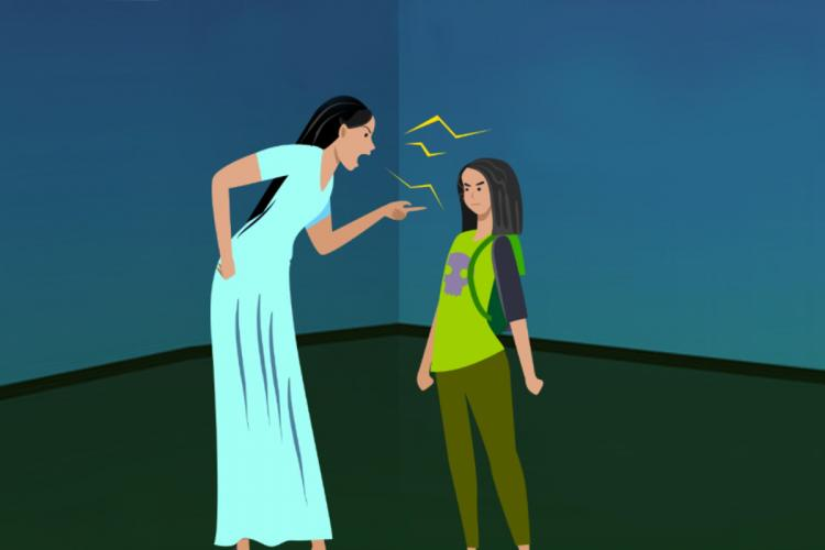 In an illustration, a mother in a blue nighty is seen scolding a girl wearing green t shirt and pants, her hair lose, both standing in a room painted blue