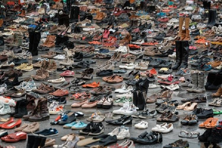 Video How 20000 shoes stood as protesters ahead of UN Climate Summit