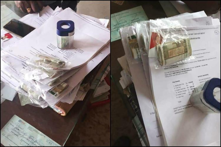 Images Of Documents Attached To Bundles Of Cash, Said To Be From The Road  Transport Authority (RTA) At Patancheru In Hyderabad, Triggered Off A  Massive Row ...