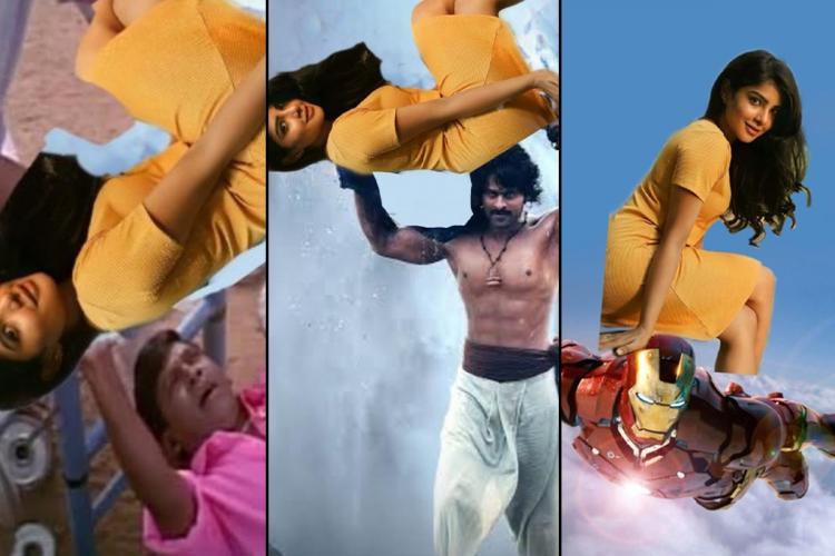 memes show Pavithras photo cropped and juxtaposed in meme templates and scenes from movies