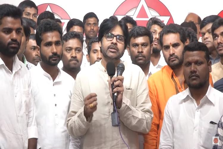 Pawan Kalyan calls for public whipping of sexual harassers protests in Hyderabad