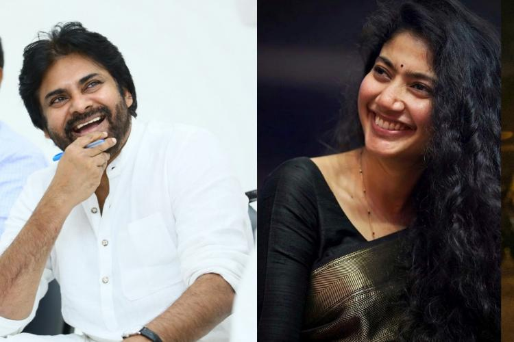 Pawan Kalyan in a white shirt on the left and Sai Pallavi in a black saree on the right both of them are smiling
