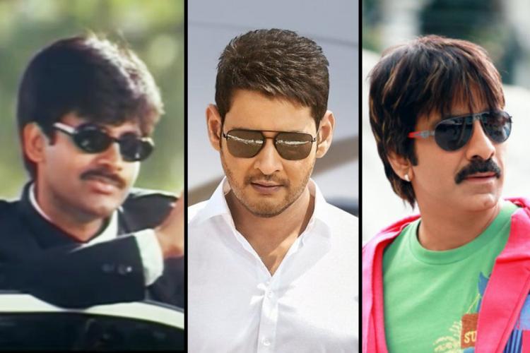Telugu actors Pawan Kalyan Mahesh Babu and Ravi Teja posing for pictures