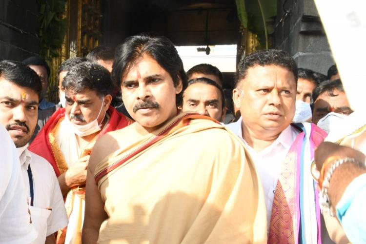 Pawan Kalyan on his visit to the Tirumala temple surrounded by party leaders and workers
