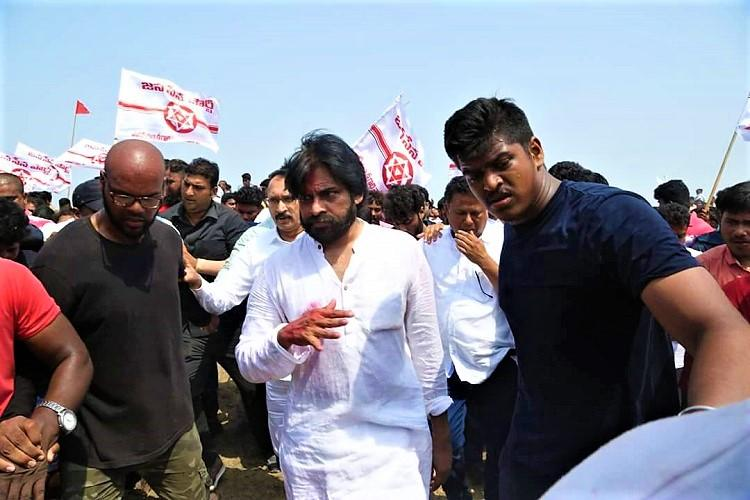 Image result for Pawan Kalyan in his yatra