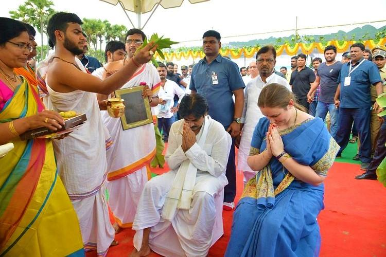 Pawan Kalyan to shift base from Hyd lays foundation stone in Amaravati
