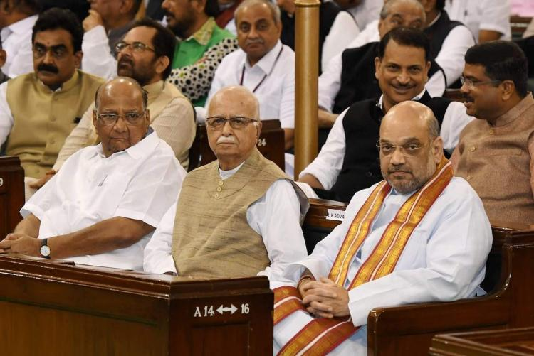 Sharad Pawar LK Advani and Amit Shah in an event at the Parliament