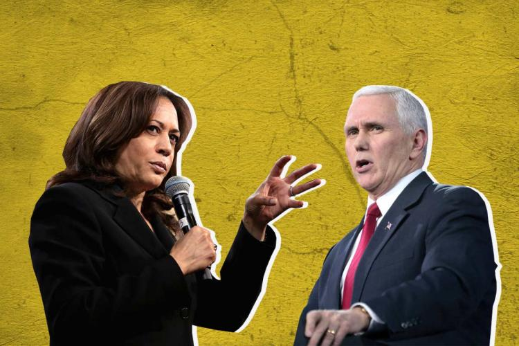 Collage of Kamala Harris on the left speaking into a mic as she gesticulates with her left hand Mike Pence on the right with his mouth slightly ajar