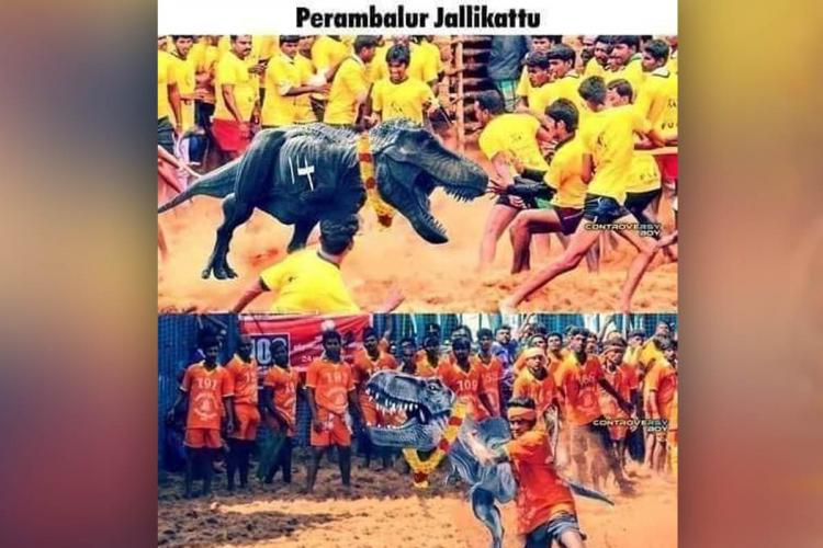 A meme of a dinosaur actually functioning as a Jallikattu bull in Tamil Nadu