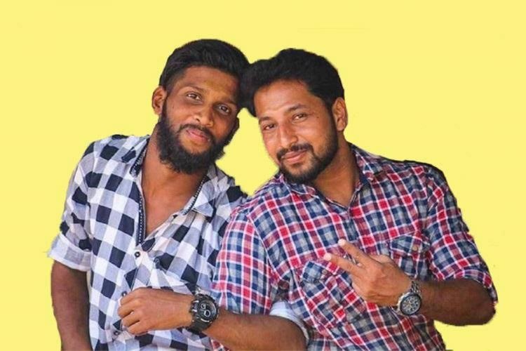 Kerala Youth Congress Workers Kripesh and Sharathlal posing for a selfi in a yellow background