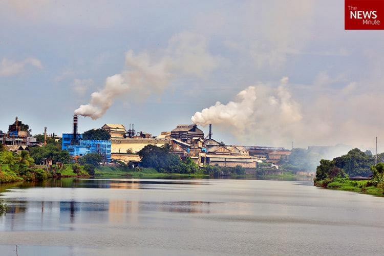 Periyar River in the background of a industrial pollution