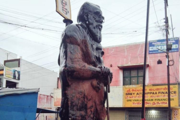 The Periyar statue with the saffron paint poured by miscreants in Coimbatore
