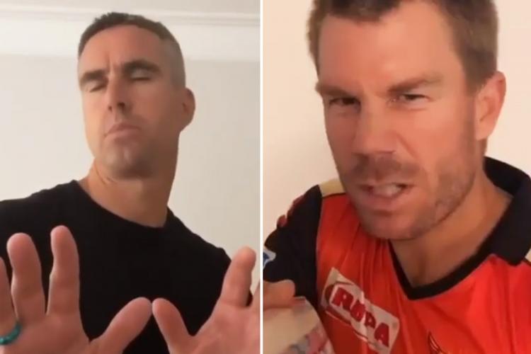 David Warner and Kevin Pietersen collage
