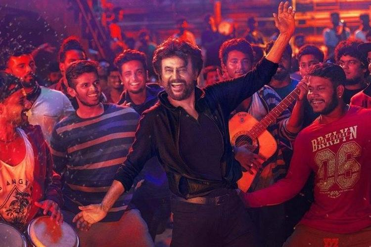 Rajinikanth dancing in a poster from Tamil movie Petta
