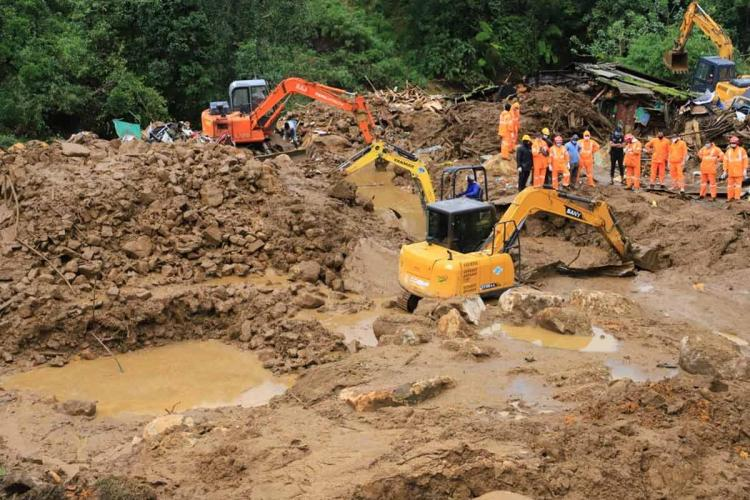 Pettimudi Rajamala near Munnar in Idukki district in Kerala where 62 people died in a landslide