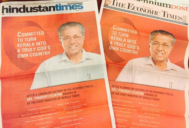 Pinarayi Vijayans ad blitzkrieg announcing he is Kerala CM draws criticism
